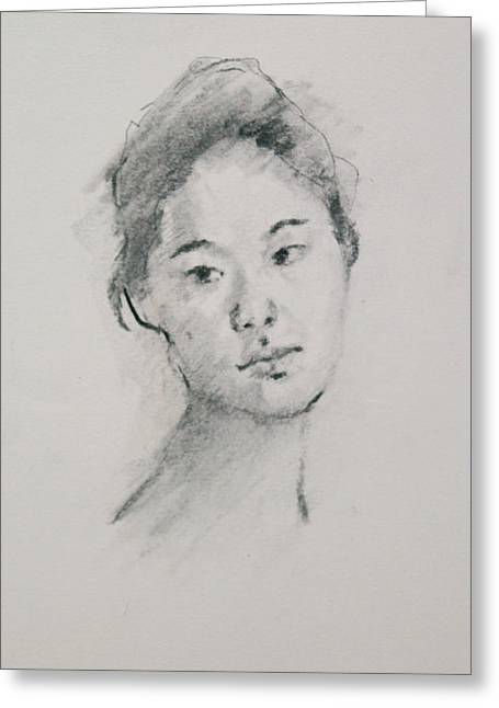 Charcoal Series 3            Greeting Card by Becky Kim