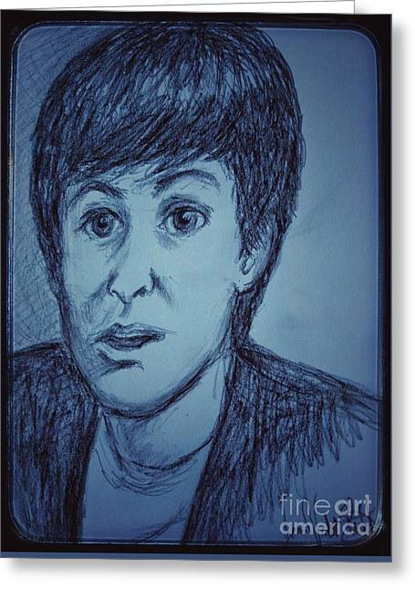 Charcoal Sketch Of Paul Mccartney In Blue Greeting Card by Joan-Violet Stretch