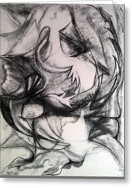Greeting Card featuring the drawing Charcoal Study by Nicolas Bouteneff