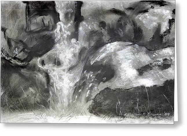 Charcoal Waterfall Greeting Card