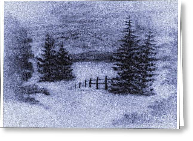 Charcoal Winter Mountain Scene  Greeting Card