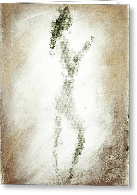 Charcoal Woman Greeting Card by Andrea Barbieri
