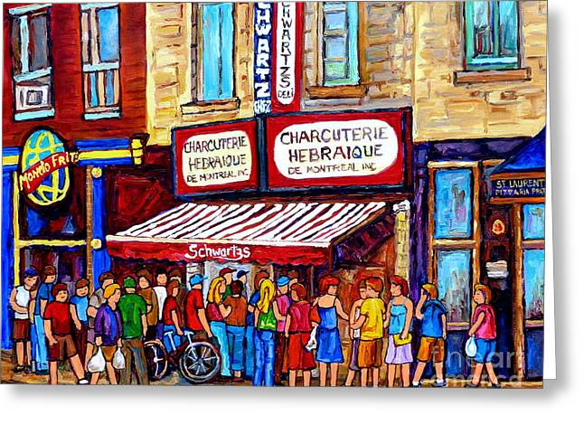 Charcuterie Hebraique Schwartz Line Up Waiting For Smoked Meat Montreal Paintings Carole Spandau     Greeting Card