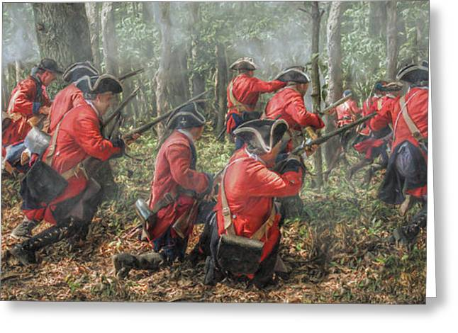 Loyalist Greeting Cards - Charge of the 60th Royal Americans Regiment at Bushy Run Greeting Card by Randy Steele