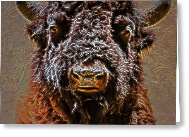 Greeting Card featuring the digital art Charging Bison by Ray Shiu