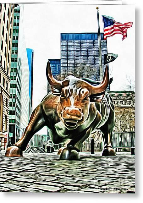 Charging Bull 3 Version 2 Greeting Card