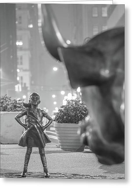 Charging Bull And Fearless Girl Nyc  Greeting Card