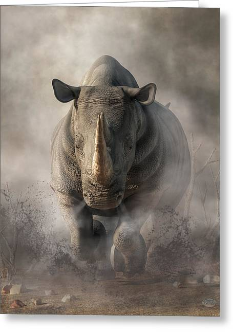 Charging Rhino Greeting Card
