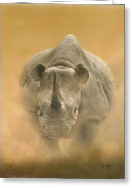 Charging Rhino Greeting Card by Kathie Miller
