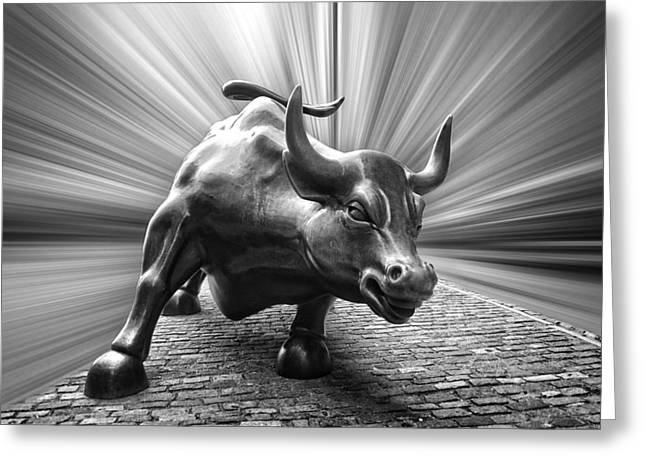 Charging Wall Street Bull B W Greeting Card