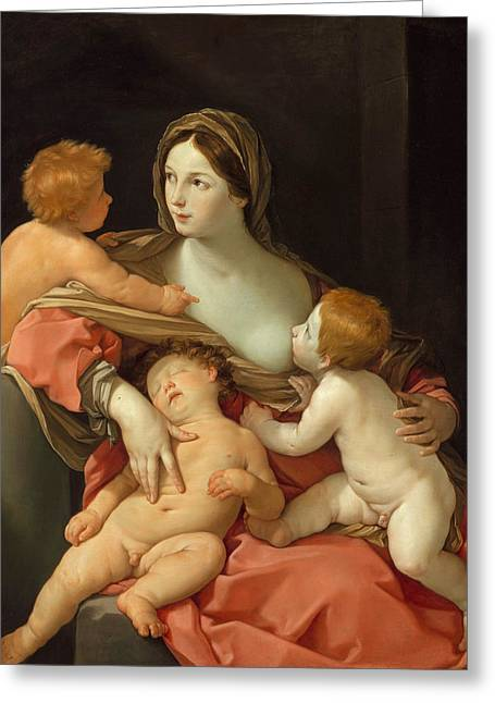 Greeting Card featuring the painting Charity by Guido Reni