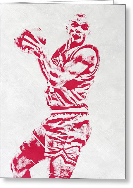 Charles Barkley Philadelphia Sixers Pixel Art Greeting Card