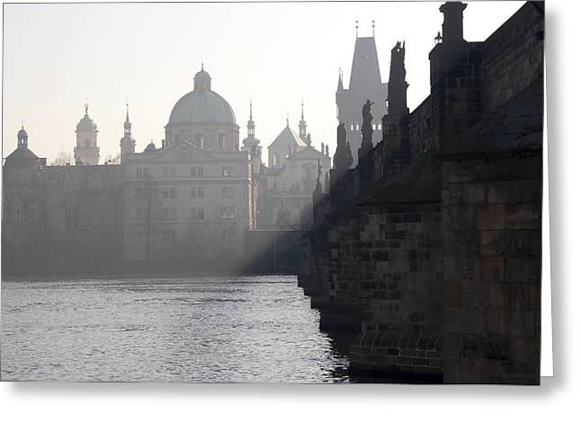 Charles Bridge At Early Morning Greeting Card by Michal Boubin