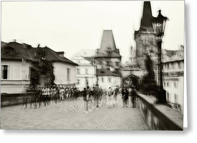 Greeting Card featuring the photograph Charles Bridge. Black And White. Impressionism by Jenny Rainbow