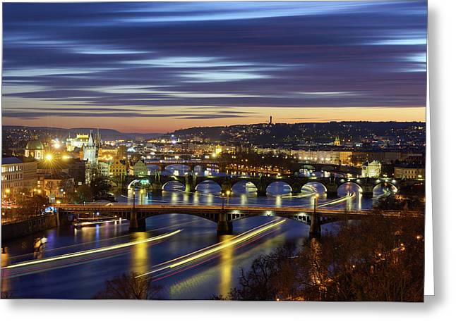 Charles Bridge During Sunset With Several Boats, Prague, Czech Republic Greeting Card