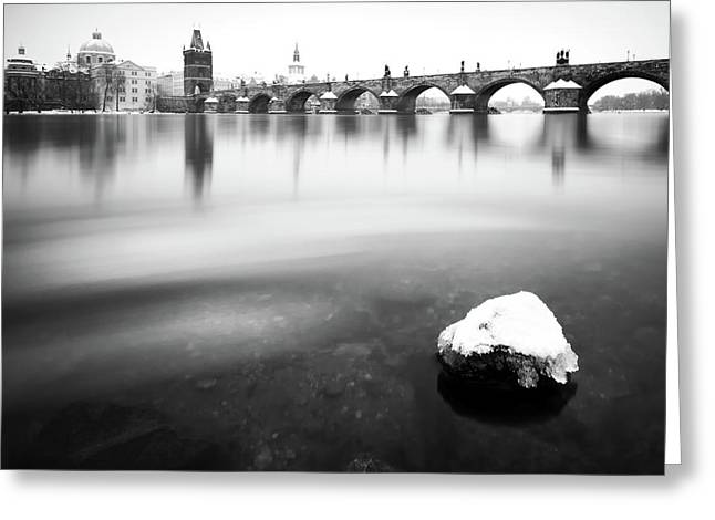 Charles Bridge During Winter Time With Frozen River, Prague, Czech Republic Greeting Card