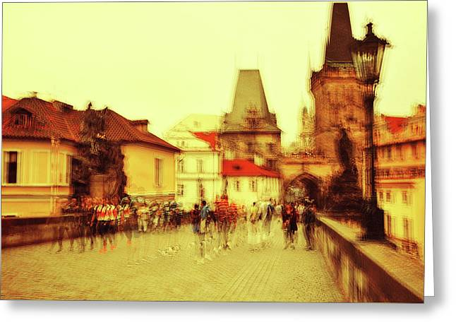 Greeting Card featuring the photograph Charles Bridge. Golden Prague. Impressionism by Jenny Rainbow