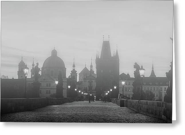 Charles Bridge In Fog At Sunrise, Prague, Czech Republic. Dramatic Statues And Medieval Towers. Greeting Card by Michal Bednarek
