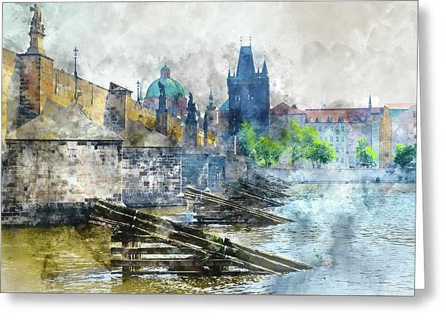 Charles Bridge In Prague Czech Republic Greeting Card by Brandon Bourdages