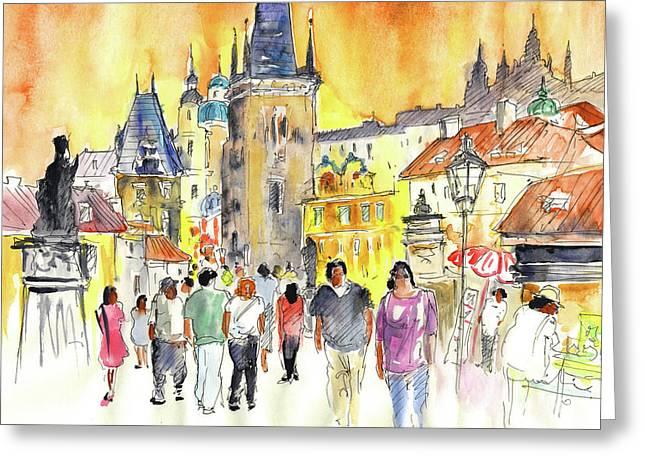 Charles Bridge Drawings Greeting Cards - Charles Bridge in Prague in The Czech Republic Greeting Card by Miki De Goodaboom