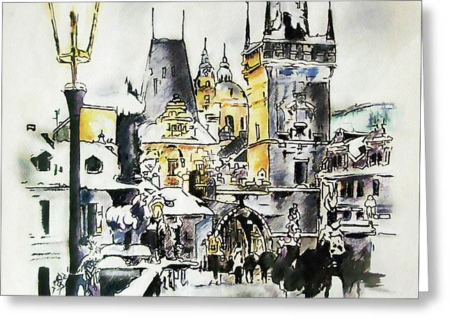 Charles Bridge In Winter Greeting Card by Melanie D