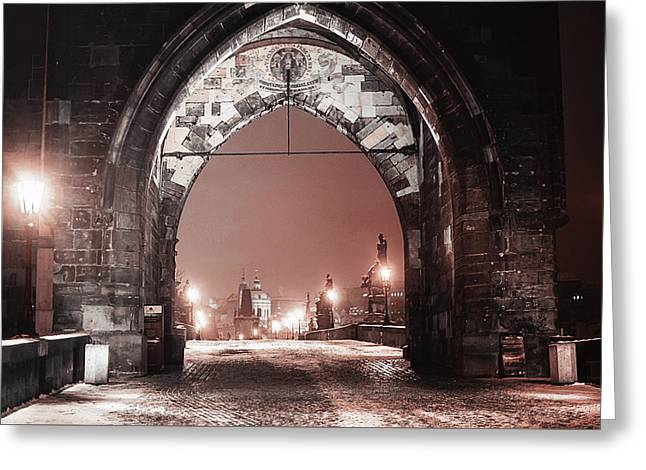Charles Bridge In Winter. Prague Greeting Card by Jenny Rainbow
