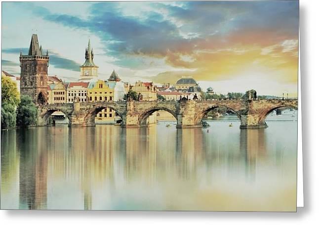 Charles Bridge Greeting Card by Maciej Froncisz