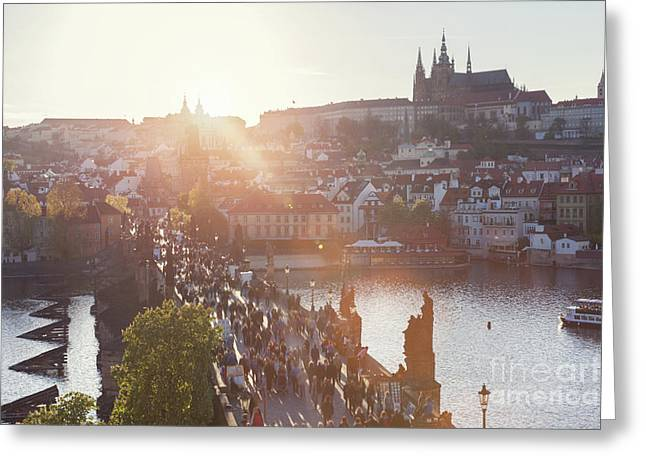 Charles Bridge On Vltava River In Prague, Czech Republic At Sunset. Prague Castle Greeting Card by Michal Bednarek