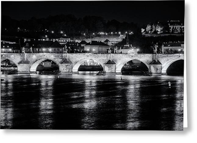 Charles Bridge Prague Night Greeting Card