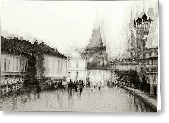 Greeting Card featuring the photograph Charles Bridge Promenade. Black And White. Impressionism by Jenny Rainbow