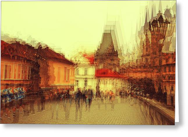 Greeting Card featuring the photograph Charles Bridge Promenade. Golden Prague. Impressionism by Jenny Rainbow