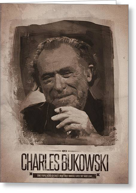 Charles Bukowski 02 Greeting Card by Afterdarkness
