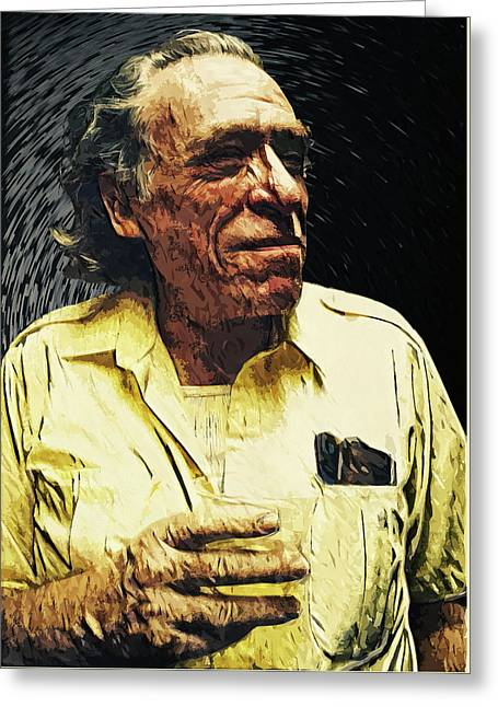 Charles Bukowski Greeting Card by Taylan Apukovska