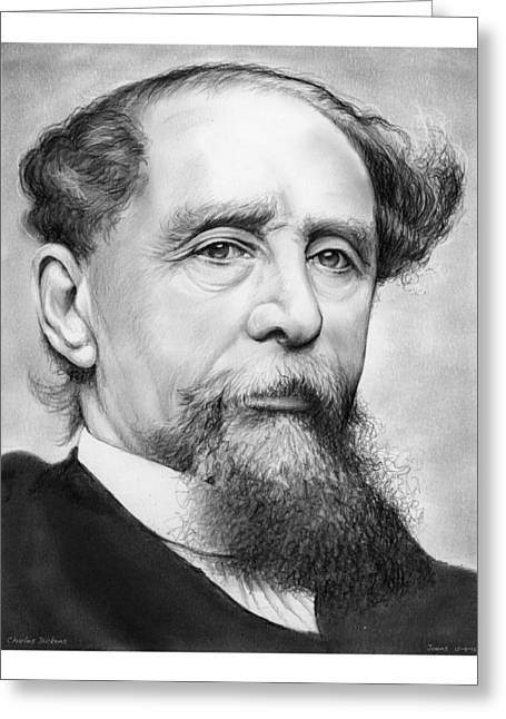 Charles Dickens Greeting Card by Greg Joens