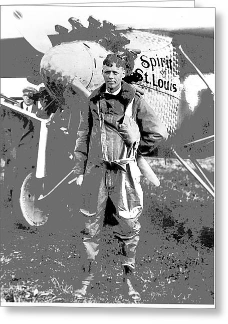 Charles Lindberg Spirit Of St. Louis Roosevelt Field May 20 1927 Day Of His Historic Flight  Greeting Card by David Lee Guss