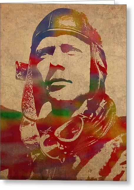 Charles Lindbergh Watercolor Portrait Greeting Card