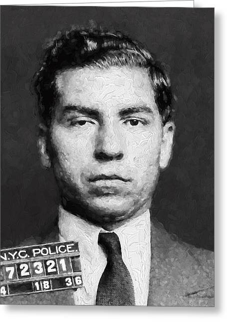 Charles Lucky Luciano  Mugshot Painterly Greeting Card