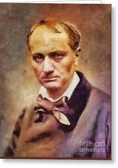 Charles Pierre Baudelaire, Literary Legend Greeting Card by Sarah Kirk
