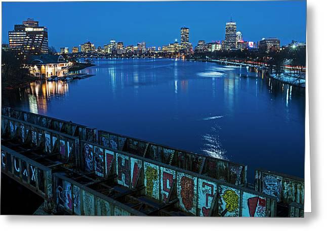 Charles River At Dusk Dewolfe Boathouse Boston Skyline Greeting Card