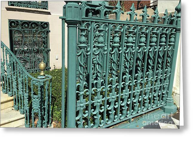Charleston Aqua Turquoise Rod Iron Gate John Rutledge House - Charleston Historical Architecture Greeting Card by Kathy Fornal