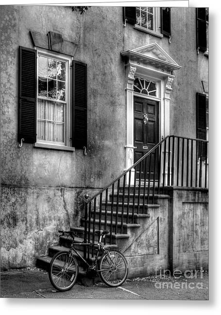 Charleston Charm Bw Greeting Card by Mel Steinhauer