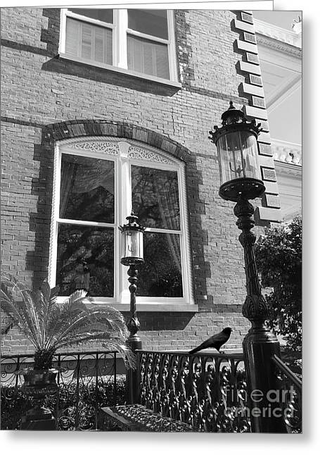 Greeting Card featuring the photograph Charleston French Quarter Architecture - Window Street Lanterns Gothic French Black White Art Deco  by Kathy Fornal