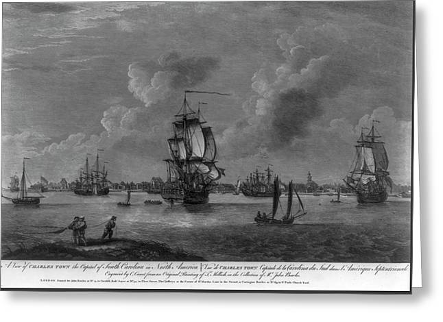Charleston Harbor Early 1700s Greeting Card by Dale Powell