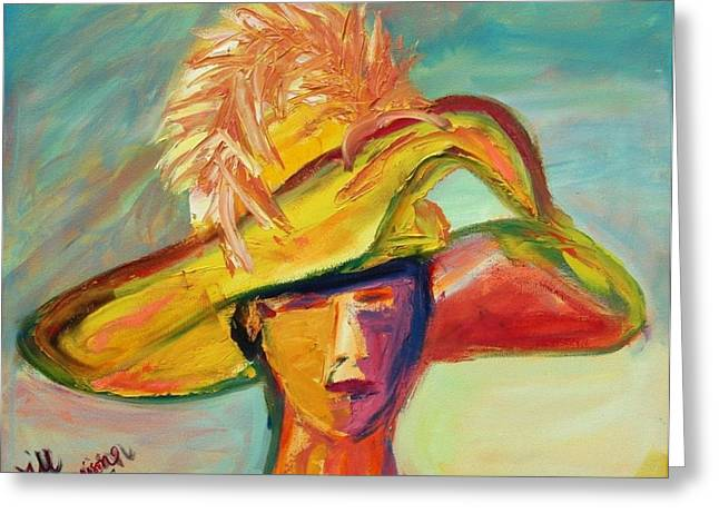 Charleston Hat Lady Greeting Card by Jill Tennison