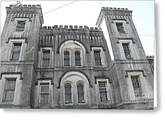 Greeting Card featuring the photograph Charleston Historical Haunted Old Jail House - Charleston Old Jail Civil War Architecture  by Kathy Fornal