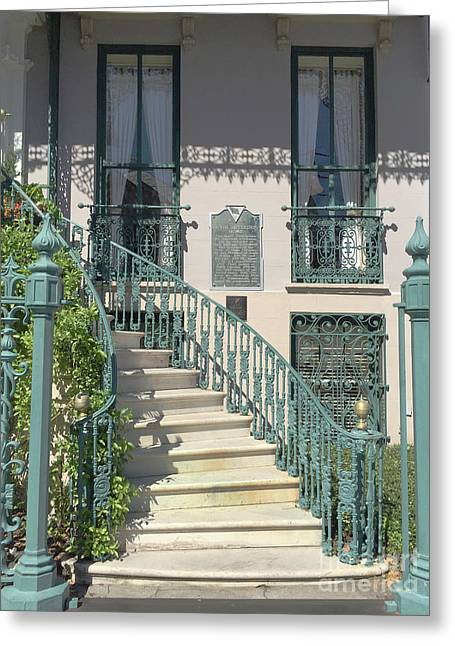 Greeting Card featuring the photograph Charleston Historical John Rutledge House - Aqua Teal Gate Staircase Architecture - Charleston Homes by Kathy Fornal