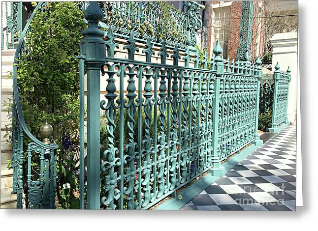 Greeting Card featuring the photograph Charleston Historical John Rutledge House Fleur Des Lis Aqua Teal Gate Fence Architecture  by Kathy Fornal
