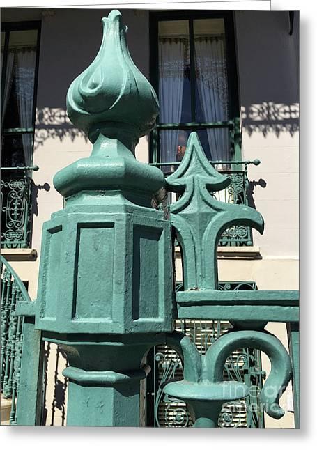 Charleston John Rutledge House Fleur De Lis Symbols - French Quarter Architecture Gate Posts Greeting Card