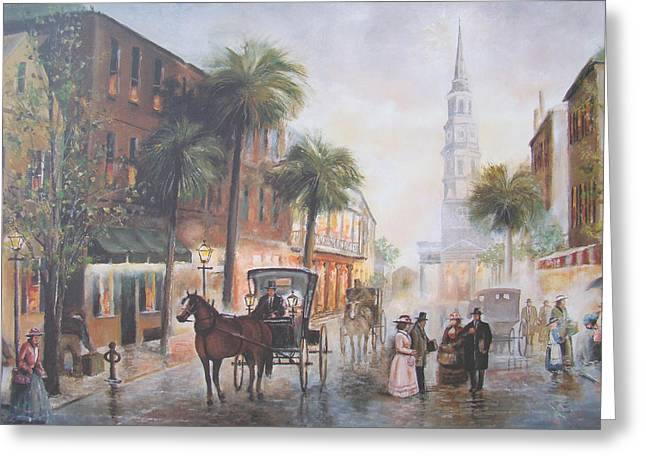 Charleston Somewhere In Time Greeting Card by Charles Roy Smith