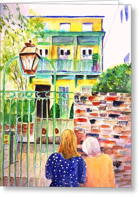 Greeting Card featuring the painting Charleston South Carolina Single House by Carlin Blahnik CarlinArtWatercolor